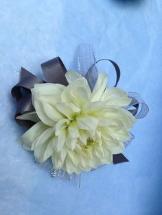 White dahlia wrist corsage | By Forget Me Not Floral Design