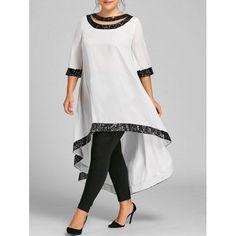 Plus Size Sequined Trim Dip Hem Dress - Off-white Xl Mobile #PlusSizeDresses