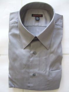 NWOT GEORGE Men's Shirts Size-M 15-15.5 34-35 Gray Very Good! #George #FlatFront