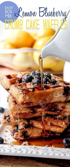 Easy Box Mix Lemon Blueberry Crumb Cake Waffles - like super moist crumb cake with caramelized brown sugar topping swirled throughout with bursts of warm sweet blueberries brightened by fresh lemon. #waffles #blueberries #lemon #blueberrywaffles #breakfast