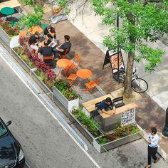 pop up parklet Landscape Architecture Design, Sustainable Architecture, Architecture Diagrams, Urban Architecture, Architecture Portfolio, Urban Design Diagram, Pocket Park, Urban Park, Urban Furniture
