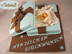 Hochzeitstorte Pralinenschachtel Weddingcake Box blue brown