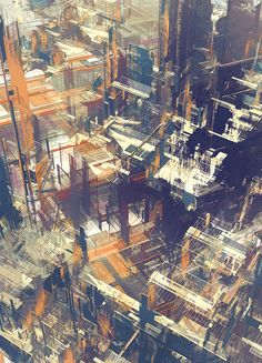 Cities IV / Deconstructed by atelier olschinsky, via Behance Deconstructed Art, Ghost In The Machine, Deconstruction, Photoshop, Urban Landscape, Urban Art, Art And Architecture, Landscape Paintings, Landscapes