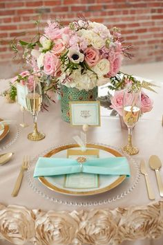 So pretty! Great for a ladies luncheon or brunch. Mint, pink + gold color palette.