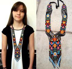 bead necklace  gerdan fringe necklace necklace seed bead
