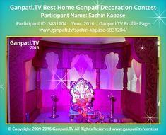 Sachin Kapase Home Ganpati 2016 Decoration Pictures, Decorating With Pictures, Ganpati Picture, Ganpati Festival, Ganapati Decoration, Festival Decorations, Ganesh, Picture Video, Rocks
