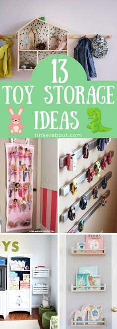Are you looking for great toy organization ideas?  Click through to find 13 cute & practical toy storage ideas to finally get your kids bedroom or kids playroom organized. ⎜toy storage hacks ⎜toy storage playroom ⎜toy storage kids ⎜toy organization ideas #organization #organizing #toystorage #playroom #kidsroom Diy Home Decor Projects, Diy Furniture Projects, Kids Bedroom Organization, Organization For Kids Toys, Playroom Ideas, Bedroom Storage Hacks, Home Organization Hacks, Playroom Decor, Organizing Ideas