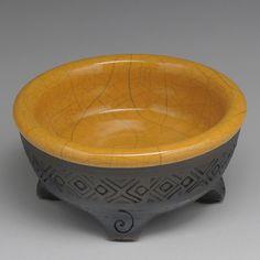 small bowl yellow black glazed raku footed bowl by DavisVachon
