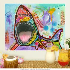Great White Shark Dean Russo Pop Art Wall Decal | Removable Wall Stickers | RetroPlanet.com