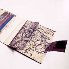 This beautiful wallet is made out of an old map.