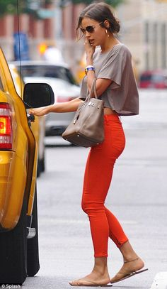 easy cropped top and red jeans.