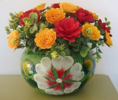 Handpainted Mexican Pottery filled with  Paper Flower Arrangement Perfect for the one you Love