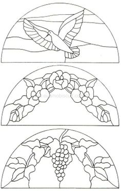 circle transoms - bird, fowers and grapevine Stained Glass Birds, Faux Stained Glass, Stained Glass Designs, Stained Glass Panels, Stained Glass Projects, Stained Glass Patterns, Mosaic Patterns, Embroidery Patterns, Glass Etching