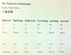 "I sit beside a Chinese lady at work, for a while she tried to teach me a new word in Cantonese every day...but she never told me about this. ""Cantonese has 6 main tones;  What this means is, the same word (in theses examples Si or Foo) can have 6 different meanings depending on the tone. Yikes! Cantonese Language, Chinese Language, Learn Cantonese, Chinese Culture, New Words, Foreign Languages, My Passion, Vocabulary, Meant To Be"