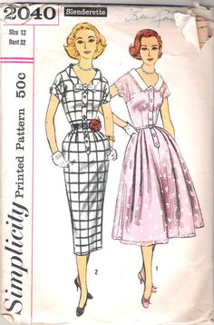 Vintage 50s Dress Pattern 1950s Wiggle Or Full 32 bust Simplicity 2040 size 12. $9.00, via Etsy.