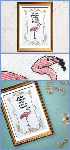 This funny cross stitch flamingo is just killing me...