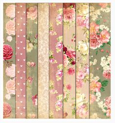 Instant Download  Vintage Rose Paper Pack    8.5 x 11 inches