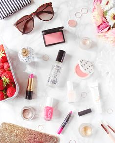 Summer Beauty blog post. I love the asthetics, backdrop and how each item has been placed.