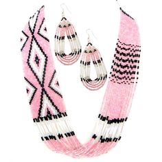 Pink White Black Beaded Layered Necklace Earrings Set:$13.96