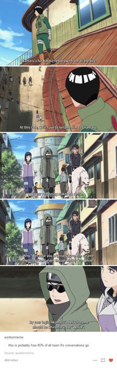 "Shino, Kiba, Hinata & Akamaru - ""this is probably how of all team conversations go"" Naruto Shippuden, Boruto, Naruto And Sasuke, Anime Naruto, Hinata, Manga Anime, Kakashi, Team 8 Naruto, Shikamaru"