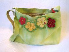 Spring handbag, handmade fabric handbag - linen, flowers and ladybirds