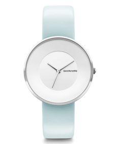 Silver & Light Blue Cielo 34 Leather-Strap Watch