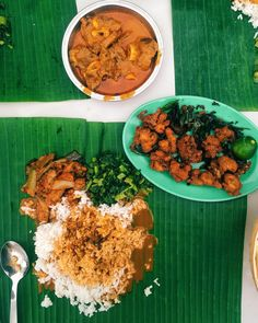 Banana leaf rice with fish eggs at Sri  Latha curry house. One of the top 20 foods in Kota Kinabalu city of Sabah food awards 2015