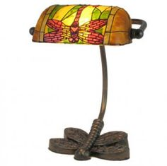 "Dragonfly Bankers Lamp with Dragonfly Base. (10"" high; 25W). $90.00"