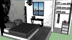 3D Model of bedroom black