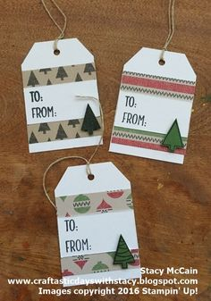 25 Days of Christmas Crafting - quick and easy tag idea using leftover scraps of seasonal paper. Homemade Christmas Cards, Christmas Gift Wrapping, Diy Christmas Gifts, Handmade Christmas, Christmas Projects, Holiday Gift Tags, Christmas Christmas, Homemade Cards, Christmas Stockings