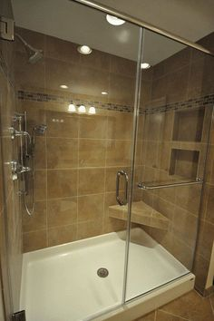 tile-ready-shower-pans-fiberglass-shower-pan-with-tile-walls-188da9f43de8b402.jpg (426×640)    not bad...would pick a different color pan. Like the set up if we don't do a bench. Reverse for our area.