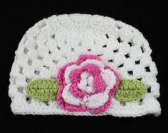 Infant Toddler Girl Baby Handmade Knit Crochet flowers Hat Cap 5-12m