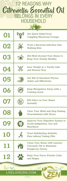 Citronella Essential Oil Benefits Infographic