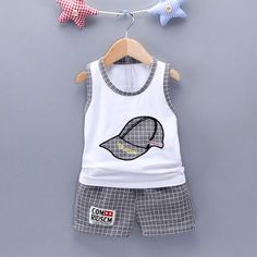 Kid and baby outfits, such as social gathering clothes, sleepsuits, vests and outdoor adventure outfit.