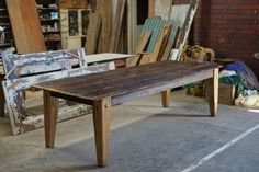 Russian Elm and European hardwood. The table top has been constructed from 400 year old Russian Elm barn floorboards and the base from recycled European hardwood. Raw Furniture, Rustic Furniture, Furniture Making, Rustic Farmhouse Table, Dining Table, Home Decor, Rustic Farm Table, Decoration Home, Room Decor
