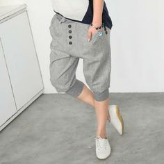 Button-Accent Cropped Baggy Pants from #YesStyle <3 59 Seconds YesStyle.com