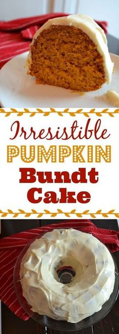 Nothing says Fall better than a delicious pumpkin bundt cake topped with cinnamon cream cheese icing. Delicious!