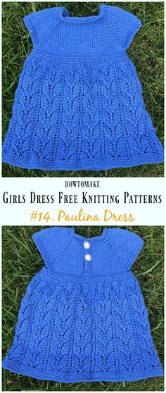 Paulina Dress Free Knitting Pattern - Little Girls #Dress Free #Knitting Patterns