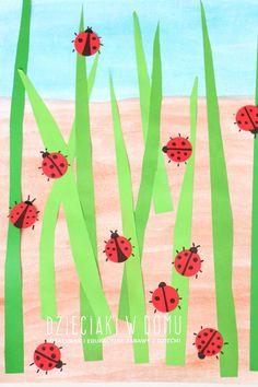 biedronki - wiosenna praca plastyczna dla dzieci / spring art for kids #springcrafts #kidscrafts #kidsart