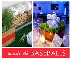 Batter Up! Ideas for a Baseball-themed Birthday Party Baseball Party, Baseball Stuff, Baseball Season, Sports Birthday, Birthday Party Themes, Birthday Ideas, Birthday Bash, Baseball Centerpiece, Baseball Decorations