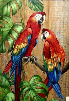 Parrot Painting, Pebble Painting, Painting On Wood, Painting & Drawing, Wood Pallet Art, Animal Paintings, Bird Art, Beautiful Paintings, Beautiful Birds