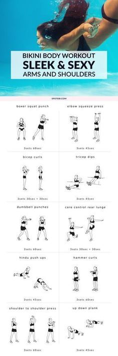 Get ready for bikini season with this complete arm and shoulder workout. Melt off extra fat, target all the major muscles in the upper body, and reveal sleek, sexy arms and shoulders fast! (Fitness Workouts Arms) Source by mondstrasse ideas style Lose Fat Fast, Fat To Fit, Lose Belly Fat, Lower Belly, Fitness Workouts, Fitness Motivation, Workout Routines, Arm Workouts, Gym Routine
