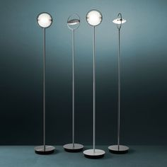 Nobi (lighting): Floor lamp. Chrome-plated, grey painted, satin nickel-plated or white metal frame. Adjustable satin glass diffusers and reflector, for indirect light emission, in aluminium. (designer: Metis Lighting | year: 1992) - More @ www.fontanaarte.com #fontanaarte #light #lamp