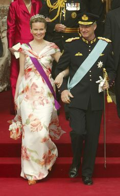 Crown Prince Philippe of Belgium and Princess Mathilde leave Copenhagen Cathedral after the wedding ceremony between Danish Crown Prince Frederik and his bride Crown Princess Mary on May 14, 2004 in Copenhagen, Denmark.