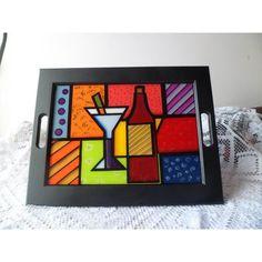 bandejas navideñas en mdf - Buscar con Google #pinturadecorativatecnica Mosaic Tray, Mosaic Glass, Glass Art, Creative Arts And Crafts, Mosaic Crafts, Country Art, Tray Decor, Wood Art, Cube