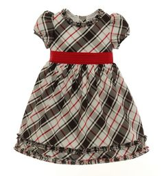 Infant Holiday Rouge Plaid Silk Dress Ensemble