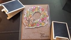 Handmade Card Happy Easter Tulip Wreath 4 X 5 with by JLMould