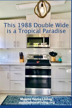 1988 Fuqua Double Wide Remodel Is A Tropical Paradise Mobile Home Parks, Mobile Home Living, Mobile Homes, Double Wide Manufactured Homes, Double Wide Remodel, Fish Scale Tile, Mobile Home Makeovers, Paved Patio, Moving To Florida