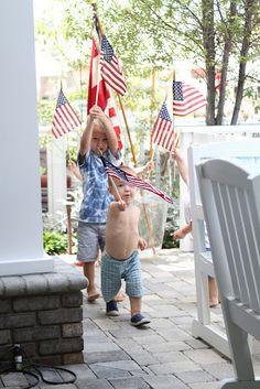 An impromptu patriotic parade.