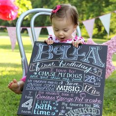 I love the stats. We can make it in board form and put a signature frame around it for her future first birthday 8x10 print!